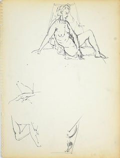 Female Figure 4 - Original Black Marker Pen on Paper by Herta Hausmann - 1950s