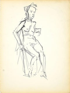 Female Nudity 3 - Original Black Marker Pen on Paper by Herta Hausmann - 1950s