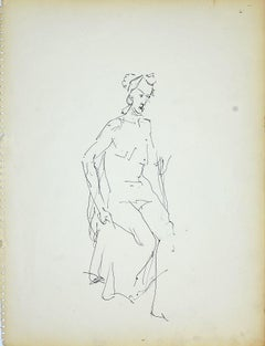 Female Nudity 4 - Original Black Marker Pen on Paper by Herta Hausmann - 1950s