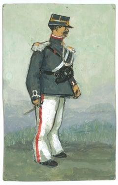 The Official - Original Tempera and Watercolor Drawing by G. Galantara - 1910s