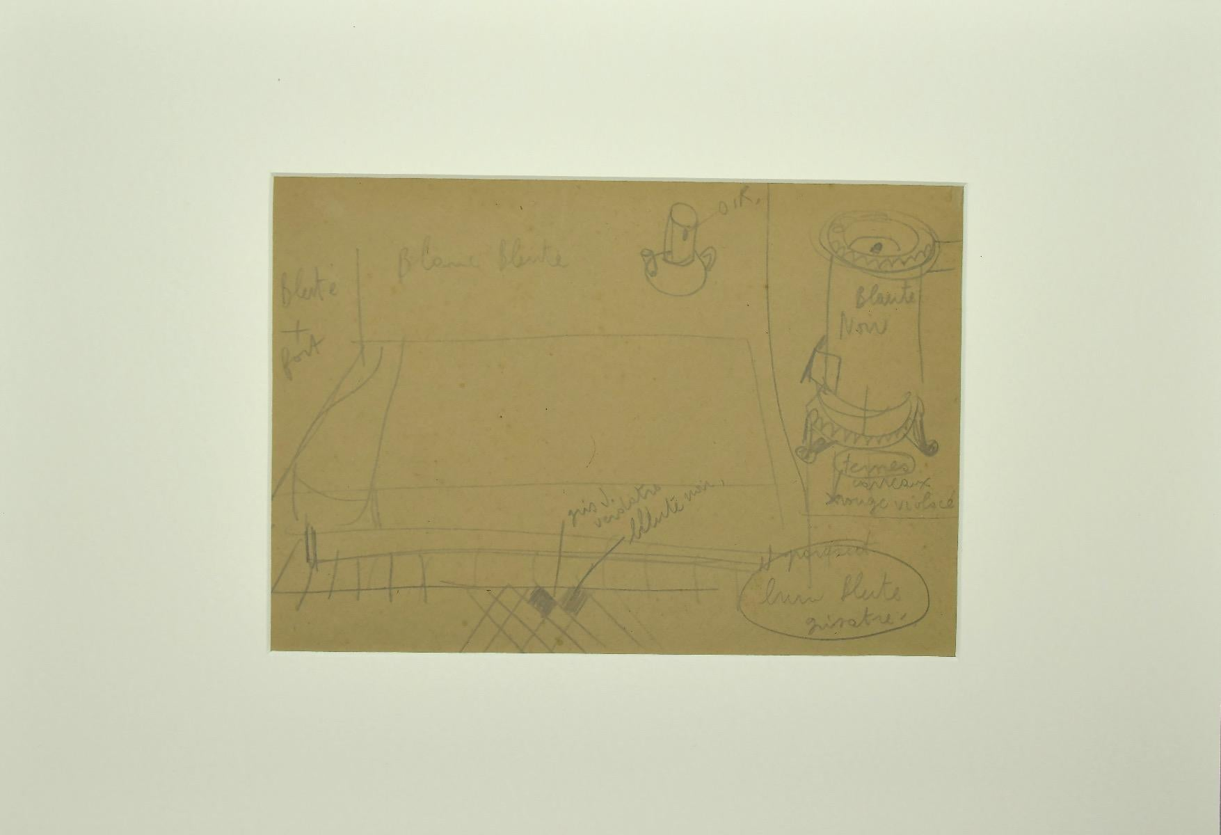 Interior of a Room - Original Pencil Drawing - Early 20th Century