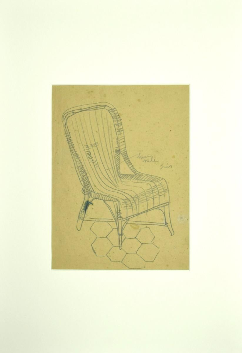 Wicker Chair - Original Pencil Drawing - Early 20th Century