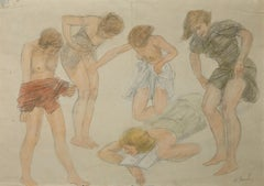 Girls on the Beach - Original Mixed Media Drawing by O. Roche - 1920s