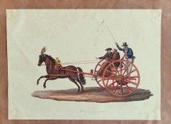 Barouche - Original Ink and Watercolor by Michela De Vito - 1830 ca.