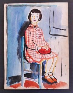 The Girl - Original Mixed Media on Paper by Nicola Simbari - 1960s