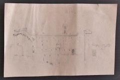 Roman Landscape - Original Pencil on Paper by E. Coleman - Early 20th Century