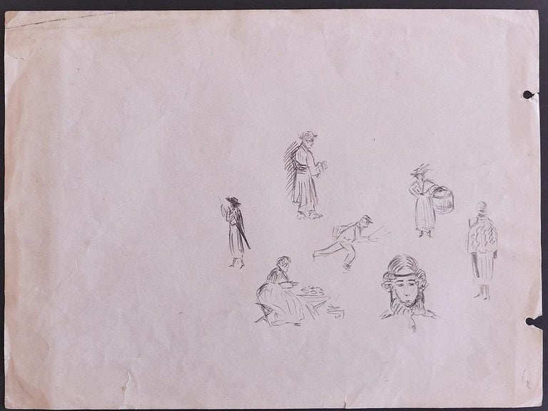 Figures - Original Pencil Drawing by P. Puvis de Chavannes - Late 19th Century - Art by Pierre Puvis de Chavannes