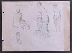 Figures - Original Pencil Drawing by P. Puvis de Chavannes - Late 19th Century