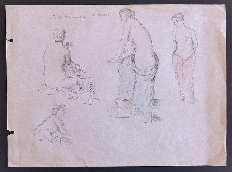 Pierre Puvis de Chavannes Nude - Figures - Original Pencil Drawing by P. Puvis de Chavannes - Late 19th Century