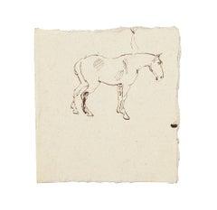 Horse - Original China Ink Drawing - 1894