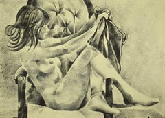 Female Nude - Original Ink Drawing by G. De Stefano - Late 20th Century