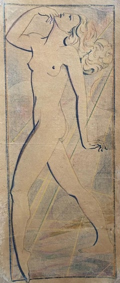 Nude of Woman - Vintage Pencil and Pastels Drawing - Early 20th Century