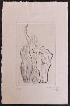 The Horse - Original Etching by Marcel Kurtz - Late 20th Century