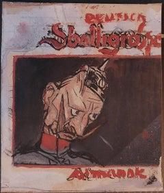 Soldier - Original Mixed Media on Cardboard by G. Galantara -Early 20th Century