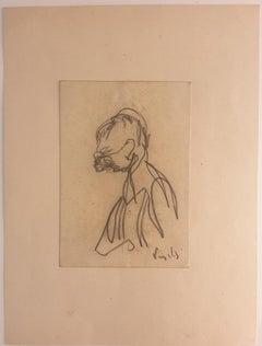 Portrait - Original Pencil Drawing on Paper by A. Vangelli - 1940s