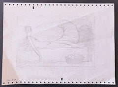 Sleeping Woman - Original Pencil on Paper by Leo Guida - 1953