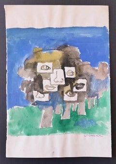 Composition - Original Watercolor by Mino Maccari - 1970s