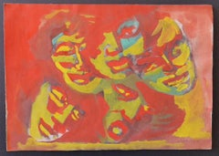 The Masks - Original Drawing in Mixed Media on Paper by Mino Maccari - 1950 ca.