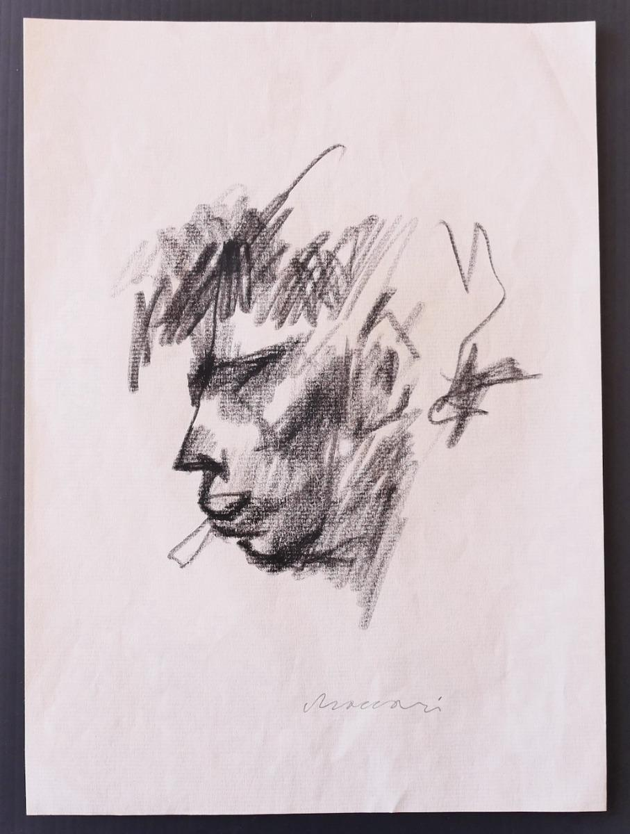Portrait - Original Drawing in Charcoal on Paper by Mino Maccari - 1960 ca.