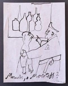 Morandi or Molotoff - Original Ink Drawing on Paper by Mino Maccari - 1960 ca.