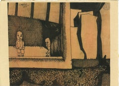 Little Theater - Original China Ink Drawing by Jorge Castillo - 1960