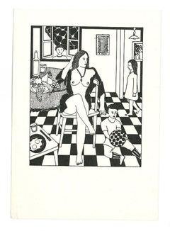 Model with Children - Original Woodcut by Antonio Presti - Late 20th Century