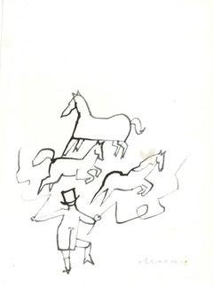 Tamer of Horses - Original Watercolor Drawing by Mino Maccari - 1960 ca.