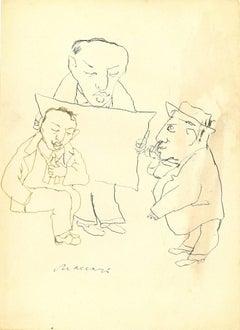 Otium - Original China Ink Drawing by Mino Maccari - 1960 ca.