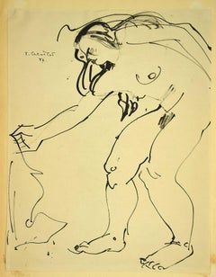 Nude of Woman - Original Pen Drawing by Tibor Gertler - 1947