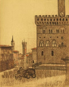 Florence - Original Pencil and Chalk Drawing - 1950s