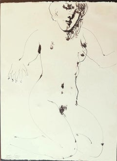 Nude - Original China Ink Drawing by Emilio Greco - 1973