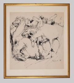 Horses - Original Drawing by Domenico Purificato - 1952