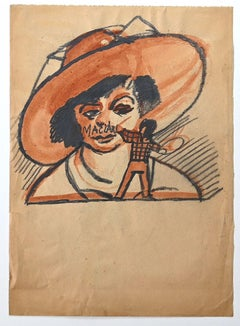 Welcome - Original Charcoal and Watercolor by Mino Maccari - 1945