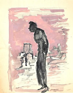 The Pink Painter - Original Watercolor by Mino Maccari - 1957