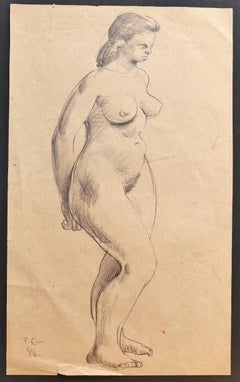 Nude - Original Pencil Drawing by Tibor Gertler - 1946