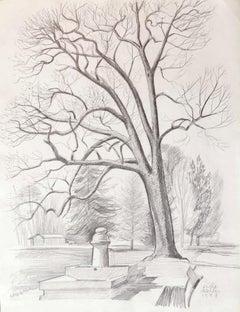 Landscape - Original Pencil on Paper by Emile Deschler - 1987