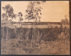 Landscape - Original Ink and Watercolor on Paper - Mid-20th Century