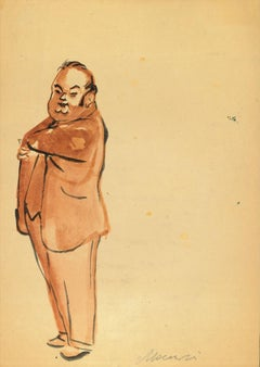 Man with hand in pocket - Original Watercolor by Mino Maccari - 1960s