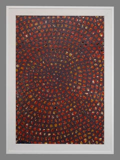 Red Optical Composition - Original Painting by Carlo Montesi - 1966