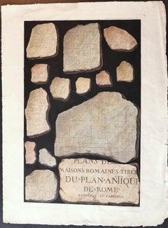Roman Stones - Original Lithograph after F. Mazois - 1880 ca.