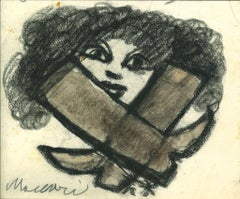 No Access! - Original Charcoal and Watercolor by Mino Maccari - 1960s