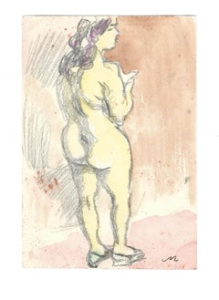 Female Nude - Original Watercolor by Mino Maccari - 1970s