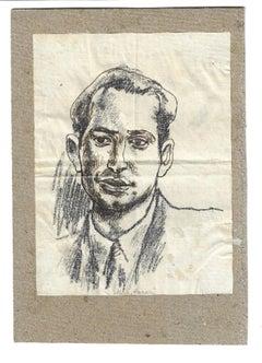 Male Portrait - Original Charcoal Drawing by Mino Maccari - 1970s