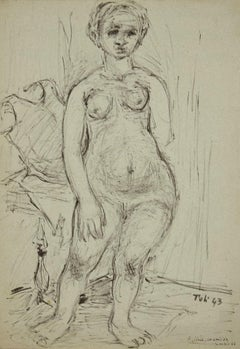 Nude of Woman - Original Ink Drawing by Toti Scialoja - 1943