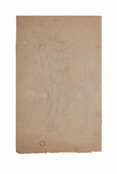 Nude from the Back - Original Pencil by Charles Lucien Moulin - 20th Century