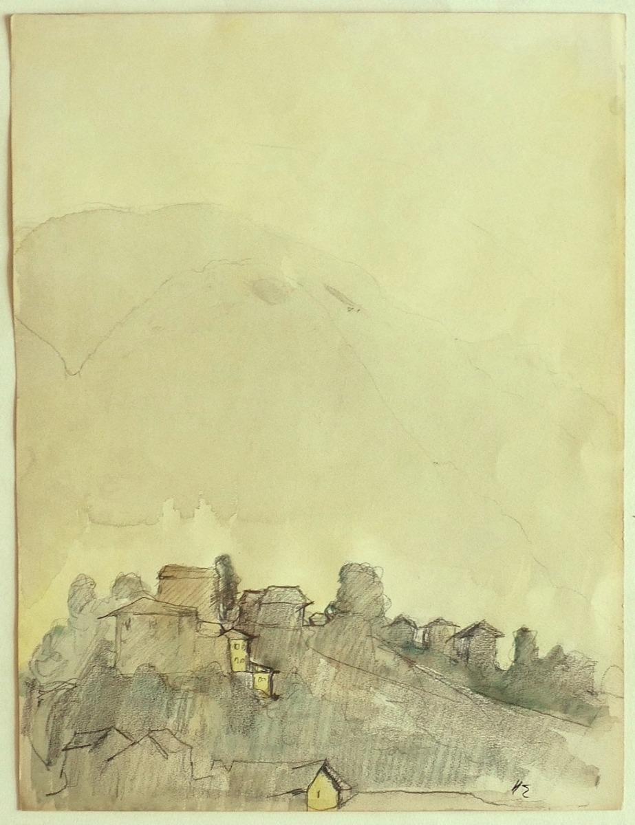 Landscape - Original Pencil and Watercolor on Paper - 19th Century