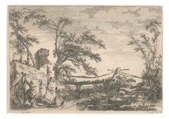 Landscape with Bridge - Etching by J. C. Richard de Saint-Non - 18th Century