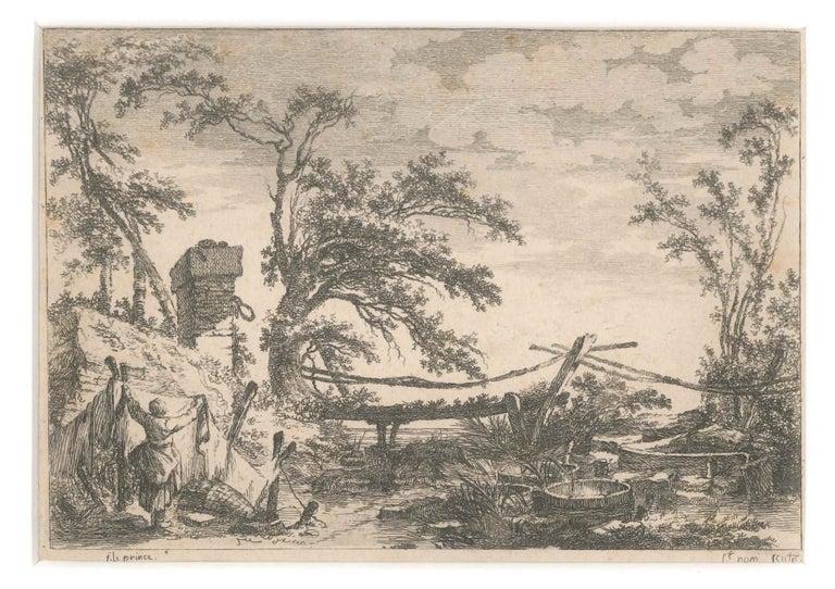 Jean-Claude Richard de Saint-Non Landscape Print - Landscape with Bridge - Etching by J. C. Richard de Saint-Non - 18th Century