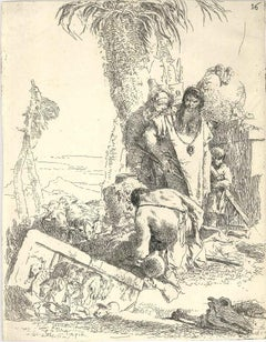 Pastore con due Maghi - Etching by Gianbattista Tiepolo - Mid 18th Century
