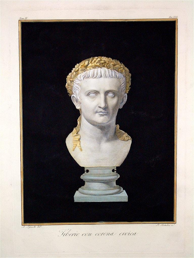 Bust of Emperor Tiberio with Civic Crown - Etching by A. Tofanelli - 1794
